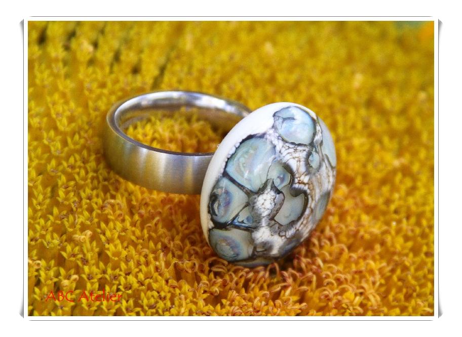 Ringtop elfenbein mit silberbraunen Dots 1