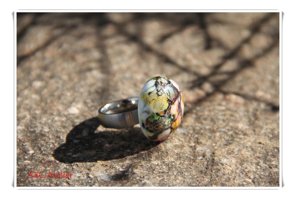 Ringtop bunter Silbermarmor