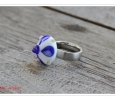 Ringtop weiß mit kobalt - periwinkel Dots